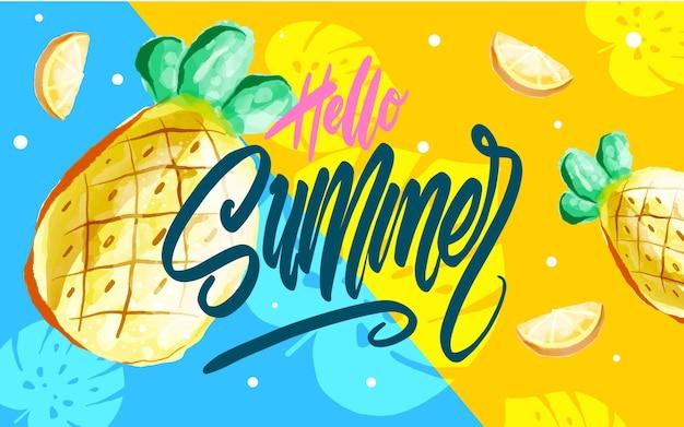 Hola cartel de verano, pancarta en el moderno estilo de memphis de los años 80-90. vector ilustración acuarela, rotulación y diseño colorido para cartel, tarjeta, invitación. fácil de editar para su diseño.