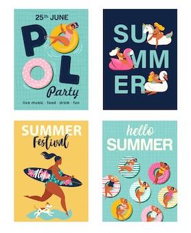 Hola carteles de verano establecidos.