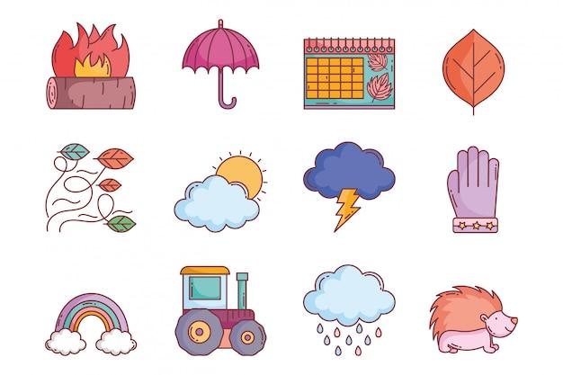 Hola colección de iconos de otoño