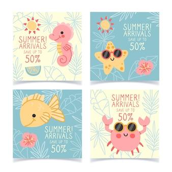 Hola colección de publicaciones de instagram de rebajas de verano