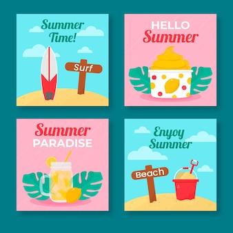 Hola colección de publicaciones de instagram de verano