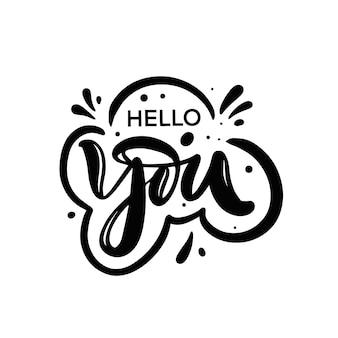 Hola, color negro, motivación, letras, frase, decir, texto, vector, ilustración