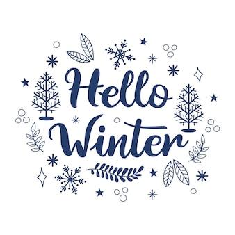 Hola concepto de invierno con letras