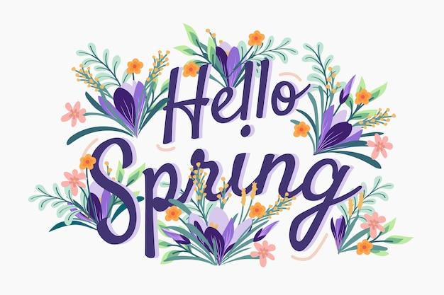 Hola concepto de letras coloridas de primavera