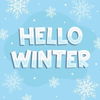 Hola concepto de letras de invierno