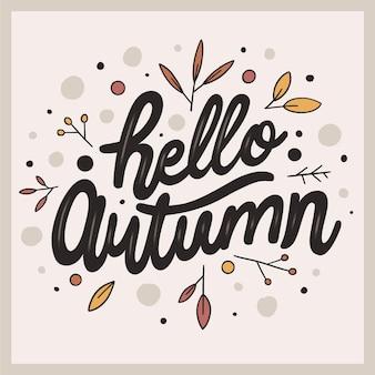Hola concepto de letras de otoño