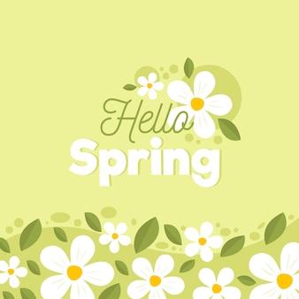 Hola concepto de letras de primavera con flores
