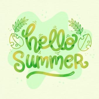 Hola concepto de letras de verano