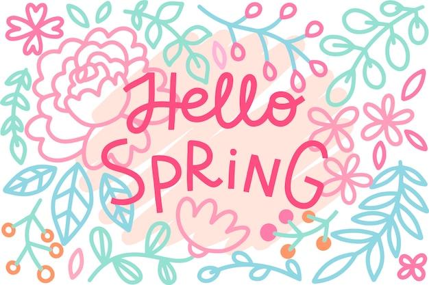 Hola concepto de primavera para letras