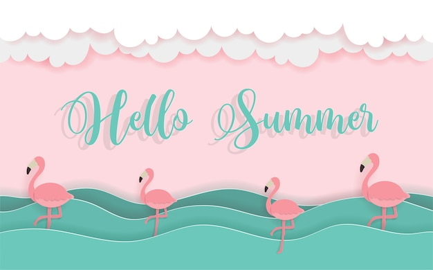 Hola concepto de verano con playa y barco garceta de papel.