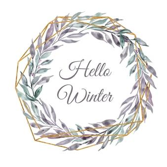 Hola corona de hojas de acuarela de invierno