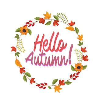 Hola corona de otoño con diseño plano