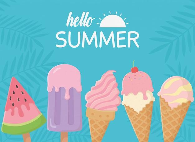 Hola cucharadas de fruta de cono de helado de vacaciones y viajes de verano
