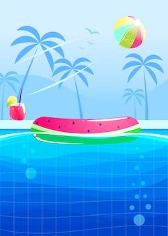 Hola diseño de banner fiesta de verano. piscina en el parque acuático.