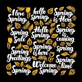 Hola diseño de caligrafía de primavera. ilustración de vector de caligrafía de la naturaleza sobre negro.