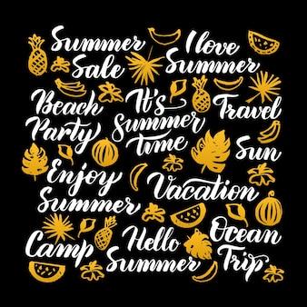 Hola diseño de caligrafía de verano. ilustración de vector de letras estacionales sobre negro.