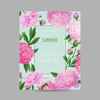 Hola diseño floral de verano con flores de peonía