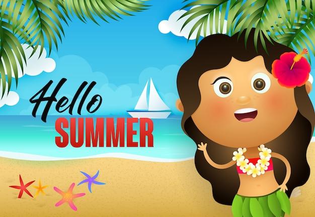 Hola diseño de flyer de verano. niña hawaiana