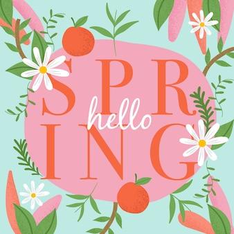 Hola diseño de letras coloridas de primavera