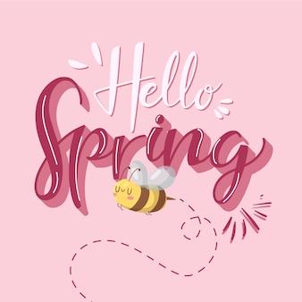 Hola diseño de letras de primavera con abeja