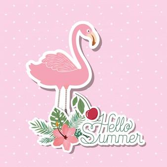 Hola diseño de pegatinas de verano y vacaciones.