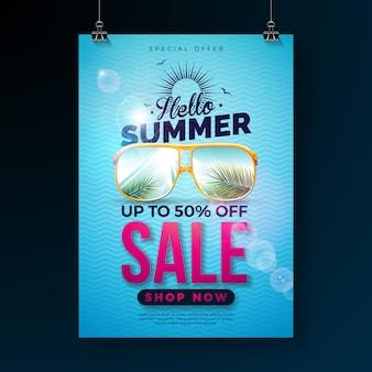 Hola diseño de venta de verano con letra de tipografía y hojas de palma exóticas en gafas de sol sobre fondo azul. ilustración de oferta especial tropical
