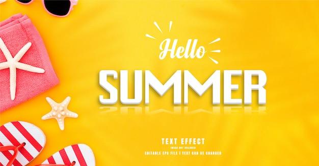Hola efecto de texto 3d de verano