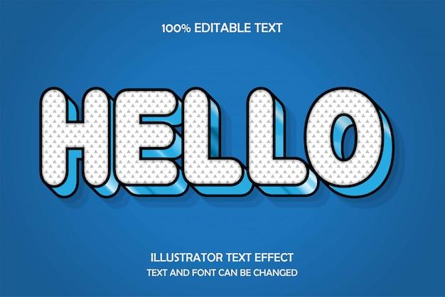 Hola, efecto de texto editable, estilo de relieve de cielo azul