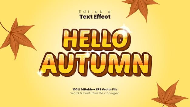 Hola efecto de texto de otoño