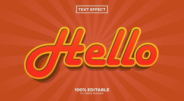 Hola efecto de texto retro 3d