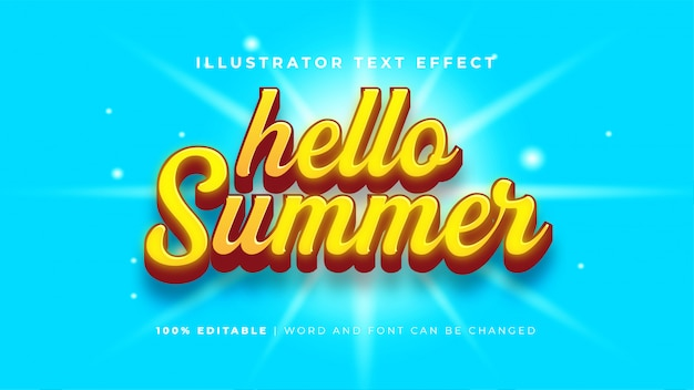 Hola efecto de texto de verano