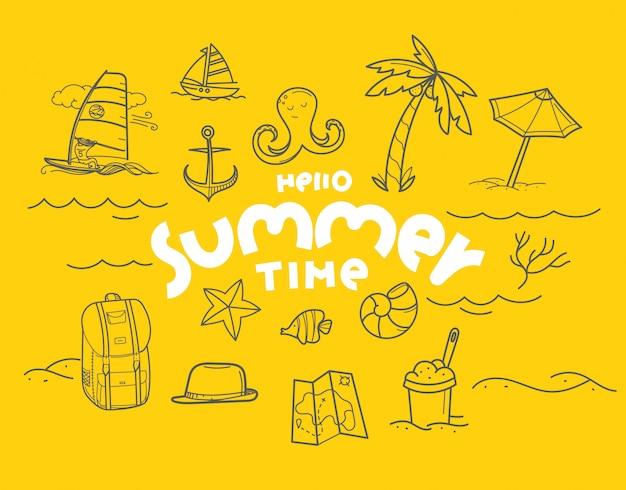 Hola elementos de doodle de horario de verano con inscripción de letras