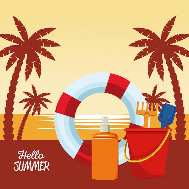 Hola escena estacional de verano con salvavidas y flotador de arena