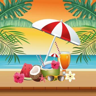 Hola escena estacional de verano con sombrilla y cócteles