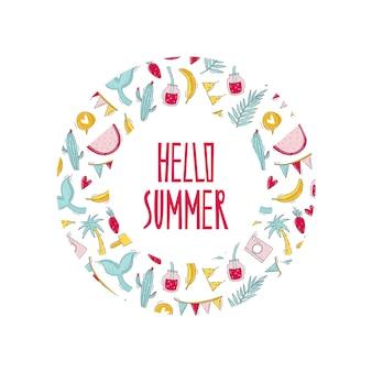 Hola estampado de verano con frutas, maleta, artículos de viaje en marco redondo en estilo doodle plano