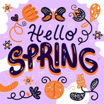 Hola estilo de letras de primavera