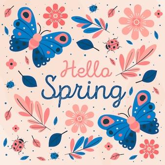 Hola estilo primaveral con mariposas y flores
