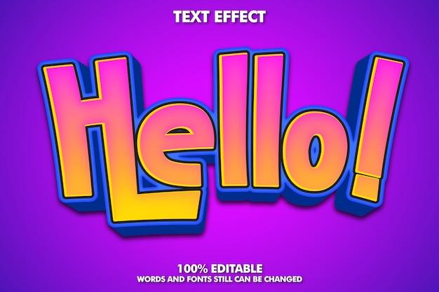 Hola etiqueta autoadhesiva, efecto de texto de dibujos animados editable