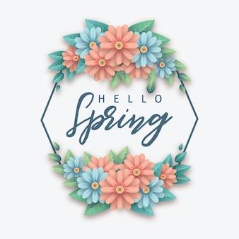 Hola flor de primavera con marco