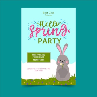Hola folleto de fiesta de primavera con conejito