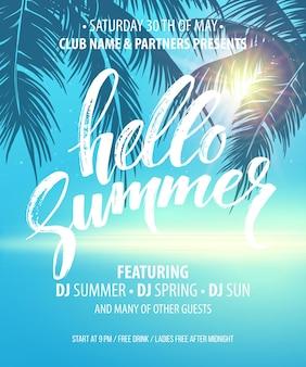 Hola folleto de fiesta de verano.