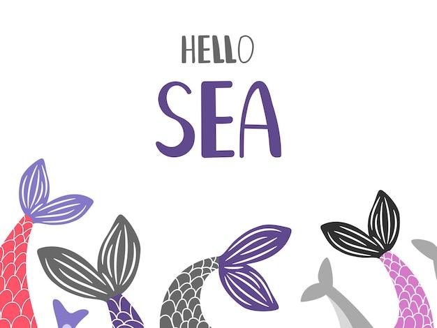 Hola fondo de mar con colas de sirena y pescado