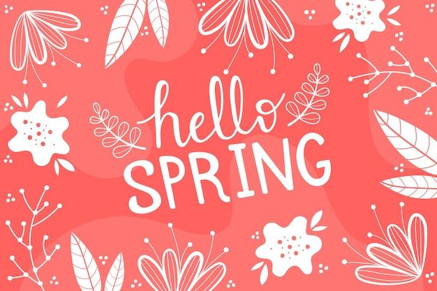 Hola fondo de pantalla de primavera con hojas