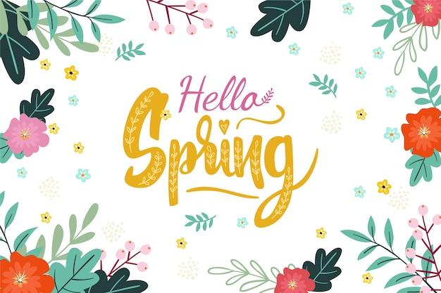 Hola fondo de primavera con decoración colorida