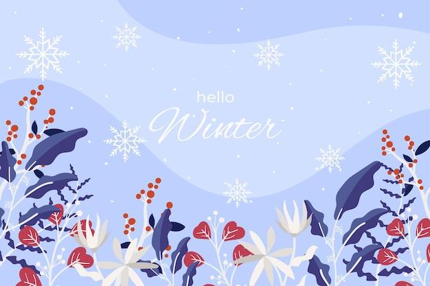 Hola fondo de saludo de invierno