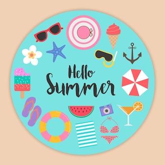 Hola fondo de verano con elementos para el diseño de la plantilla
