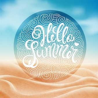 Hola fondo de verano con letras dibujadas a mano