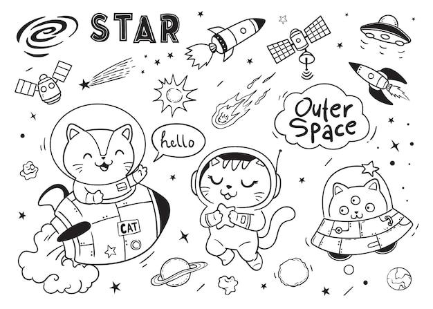 Hola garabatos de gatos espaciales para niños