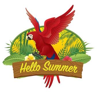 Hola guacamayo rojo de verano