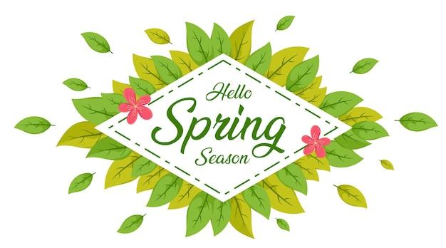 Hola hoja de primavera, fondo de venta de primavera, banner de primavera